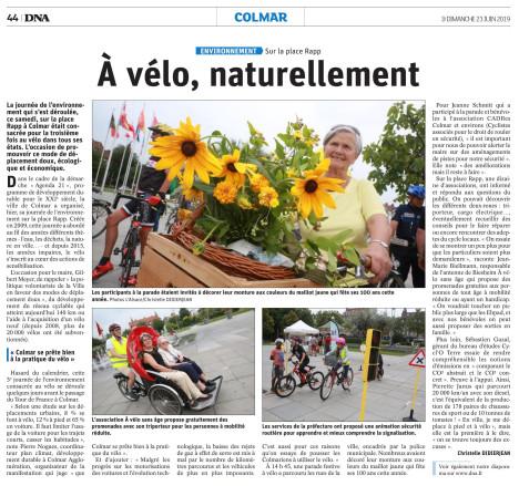 CYCL'O TERRE bureau d'etudes environnement article DNA journée velo Colmar