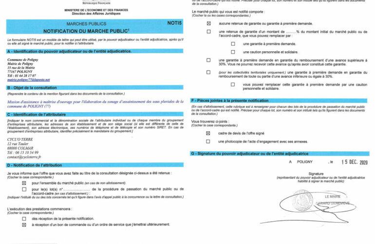 CYCL'O TERRE bureau d'etudes environnement commande Poligny zonage eaux pluviales